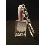 KEY0031 - 2D - Keyring - Rectangle with Pushbutton LED - 30 x 20 x 15mm